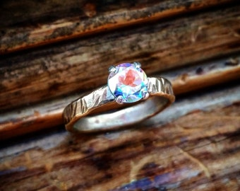 Opalescent Topaz Solitaire Ring Hammered Solitaire Ring Rainbow Topaz Solitaire Ring Opalescent Stone Large Solitaire Ring Hammered Band