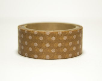 Washi Tape Brown with white polka dots