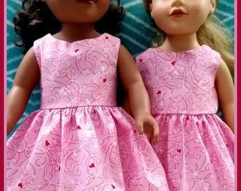"Pink & Red Heart Dress for 18"" Doll, AG Doll, Doll Clothes, 18"" Doll Clothes, 18"" doll dress, handmade, machine washable, easter baket fill"