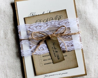 Country Lace Wedding Invitations, Rustic Wedding Invitation Set with lace, Barn Wedding, Country Chic Wedding Invitations, Invitation Sample