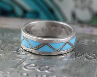 Light Blue Turquoise Inlay Band Sterling Silver Ring - 925 - Size 6.5