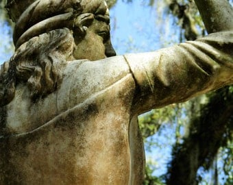 Photography on Canvas, Historic Sculpture at Plantation, Strong Woman