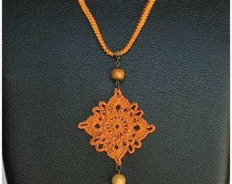 Crochet crochet necklace/necklace/bronze/Bronze/diamond/gemstone Pendant Carnelian Stone//spring/gift for you/Gift for her/Sarabanda