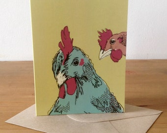 """Yellow """"chicken photo booth"""" greetings card - blank inside"""
