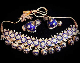 New Sapphire Enamel Polki Stone Necklace and Earrings Jewelry Set