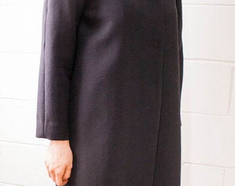 Coat in black wool double crepe - printed silk lining