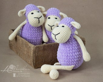 Baby toys Crochet toy Amigurumi Knitted toy Knitted Lamb Crochet Sheep lilac ewe Baby gift soft toy Stuffed toy Sheep nursery decor
