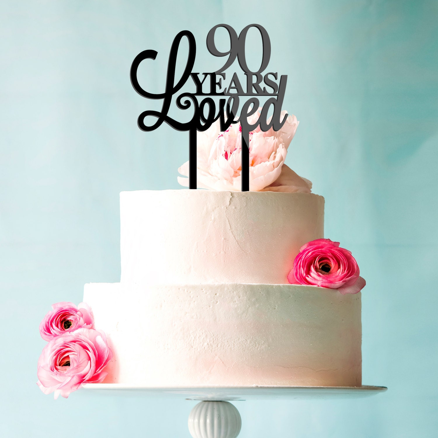 90 Years Loved Birthday Anniversary Cake Topper by ...
