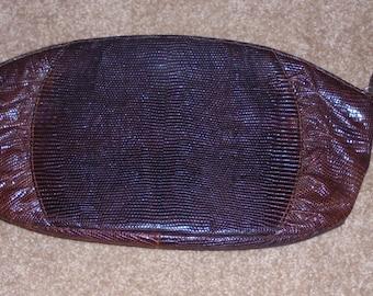 Vintage 1950's Deitsch Lizard Skin Clutch Purse  FABULOUS FIND