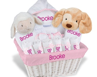 Personalized Baby Gift Basket, Baby Girl Gift Basket - 2 Bibs, 6 Burp Cloths, Towel, Onesie, Diaper Cover, Robe, Plush - X Large(B)