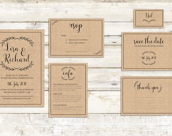 Printable PDF Wedding Invitation set. Invite | RSVP | Save the date | Information card | Seating card | Thank you cards