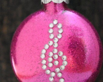 Pink Glittered Treble Clef Music Symbol Note Glass Christmas Ornament FREE USA SHIPPING