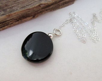 Jet Pendant with Sterling Silver Chain – Natural Stone Necklace – Round Black Stone Pendant