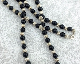 """Vintage Designer Quality 925 STERLING SILVER & ONYX Beaded 20"""" Necklace - 21.7 Grams Fine Jewelry"""