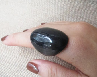 Black Ring, Big Ring, Thick Ring, Chunky Ring, Horn Ring, Artisan Ring, Handcrafted Ring, Horn Jewelry
