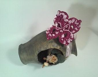 Home decor furnishing Fuchsia organza Butterfly wedding favor trinket webbing with Rhinestones