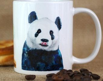 Cute Panda Coffee Mug, Panda Coffee Cup, Ceramic Coffee Mug, Watercolor Panda Gift For Coffee or Tea Lovers, Panda Design Chinese Animal Mug