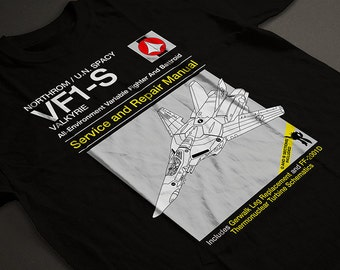 VF-1S Service and Repair Manual  Men's Unisex T-Shirt - Macross Robotech Veritech Fighter Anime Manual Parody Clothing
