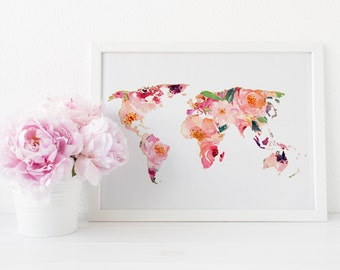 World Map wall art , World map print, World map art, Floral world map art, wanderlust print, travel art, adventure print, printable wall art