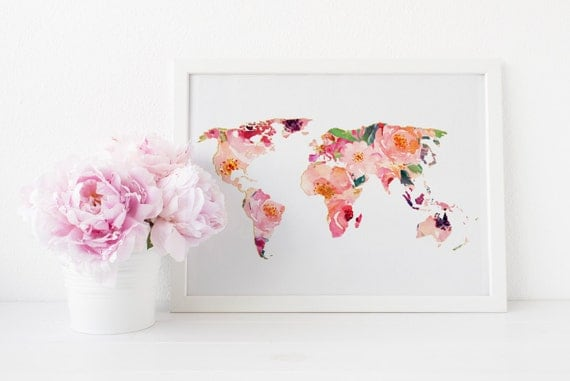 World map art print floral world map art print office wall world map art print floral world map art print office wall art travel map art print watercolor world map printable map chic art print sciox Gallery