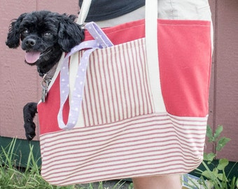 Small Dog Carrier Tote, Red Pet Carrier