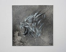 Geometric Tiger - Acrylic, Pencil, Mixed Media - Handmade, 20x20 cm / 7,87x7,87 inches
