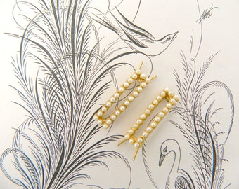 Vintage Barrette's...60s to 70s Barrettes...Set of 2...Gold with Faux Pearl Barrettes...vintage hair accessory