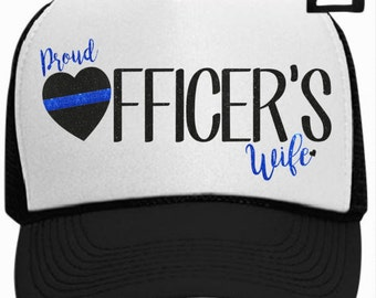Proud Police Officers Wife Trucker Hat with Thin Blue Line Heart