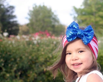Fourth of July Headband, Fourth of July Bow, 4th of July headband, Red white blue headband, American bow, Memorial Day Bow, Patriotic Bow