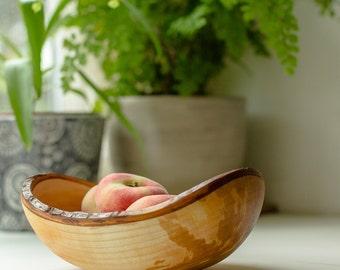 Handmade wooden fruit bowl