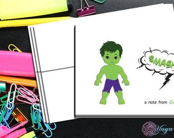 Hulk comic book Thank You Cards / comic book stationery / Superhero Stationery Set / personalized Boy thank you cards / Set of 12