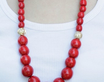 Long red necklace, Wooden Bead Necklace, summer jewelry, gift for her