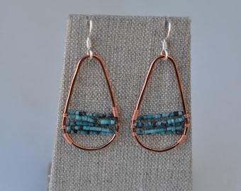 Copper and turquoise wire wrapped earrings