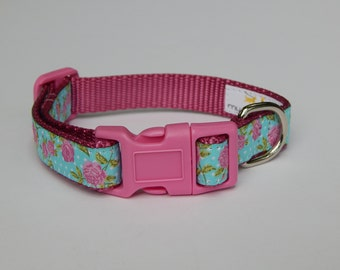 Pink Rose Dog Collar, Shabby Chic Dog Collar, Adjustable Dog Collar, Pink Dog Collar, Girl Dog Collar