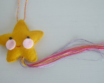 Shooting star in felt