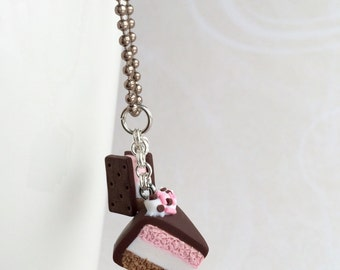 Cute mini Neapolitan ice cream necklace with matching ice cream sandwich