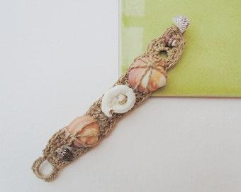 Bracelet Formentera shells hemp crochet