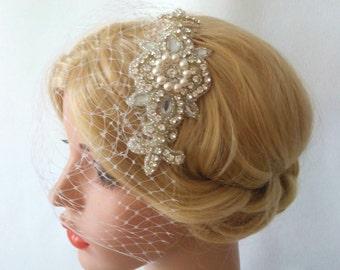 Pearl an Crystal Hair comb Fascinator Birdcage Veil, Detachable Veil Hair Comb, Rhinestone Hair Comb Bridal Veil, Veil and Headpiece