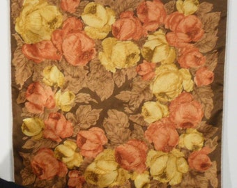 Vintage Mid Century Silk Floral Scarf with Painterly Roses and Hand Rolled edges