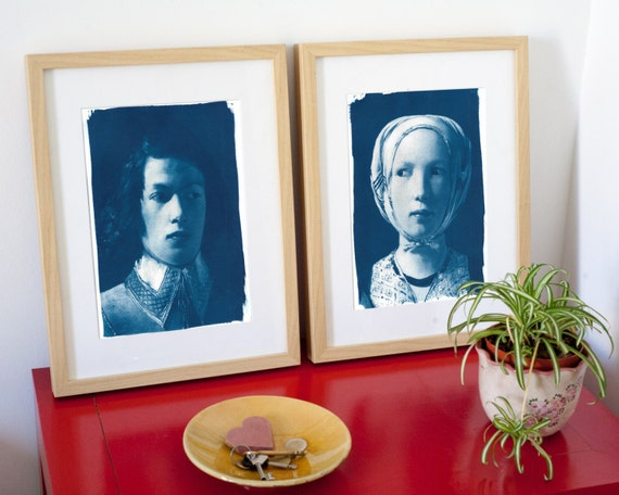 Pair of Cyanotype faces, Boy and Girl from De La Tour Painting on Watercolor Paper, A4 size