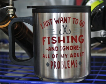 fishing gifts, fishing gift, stainless steel, stainless steel tumbler, tumbler, gift for him, travel tumbler, fishing, gifts for dad, mugs