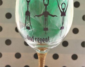 Funny wine glass, cute wine glass, love wine, Glitter dipped wine glass, glitter stem wine glass, glitter wine glass, gift for her, wine