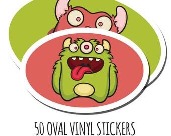 Cheap Custom Stickers- 50 Vinyl Oval Stickers - Waterproof