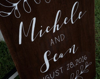 Welcome Wood Wedding Sign (with foliage)