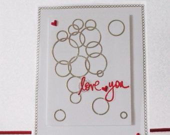 Love card - Love you card - Rings card - Blank double greeting card - Main card color is white