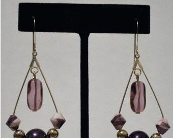 Purple and Silver Teardrop Hoop Earrings