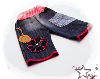 "upcycled jeans shorts ""Hibiscus"" 86/92"