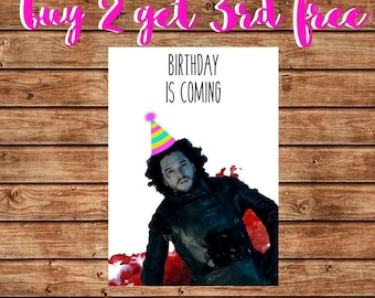 Funny Game of Thrones Birthday Card, Printable Happy Birthday Jon Snow Card, Funny Jon Snow Card, You Know Nothing, Winter is Coming