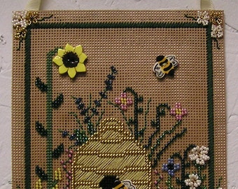 Bees, Bee Hive, Beaded Flowers Hand Stitched Embroidered Wall hanging, Accent decore