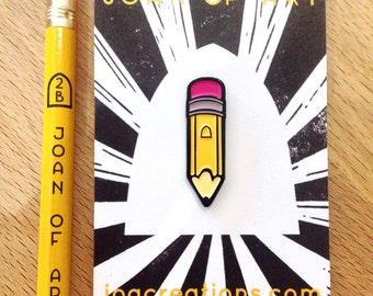 Yellow Pencil Pin Badge, Soft Enamel Lapel Pin, Lapel Pin, Tie Pin, Stationery Lovers Badge, Joan of Art Brooch!